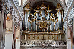 Amorbach in the Odenwald - the famous baroque Abbey church with the organ.