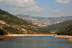 Embalse de Ulldecona in the Maestrat mountains In Spain