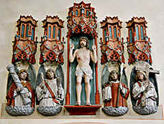Münstermaifeld in the South Eifel not far from the river Mosel - here a wonderful altar piece the figures of the 'heiliggrabgruppe'.
