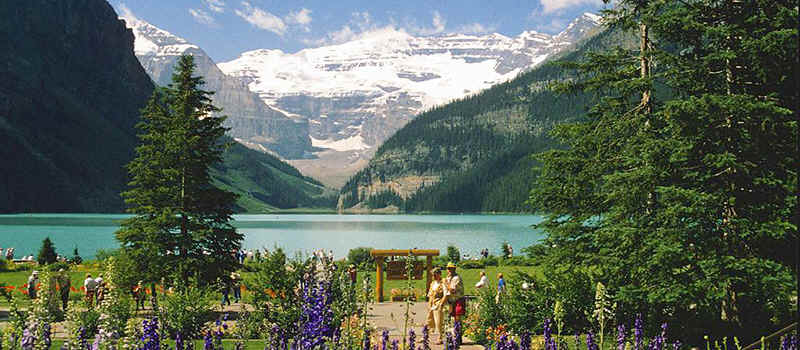 het beroemde Lake Louise in het Banff National Park in de Canadese Rocky Mountains.