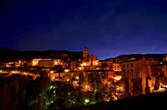 Albarracin b night - a wonderful old town in the mountains of southern Aragon