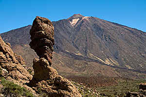 Tenerife - the Teide - with 3718 metres the highest mountain of Spain,  in front the 'Roques de Garcia'.