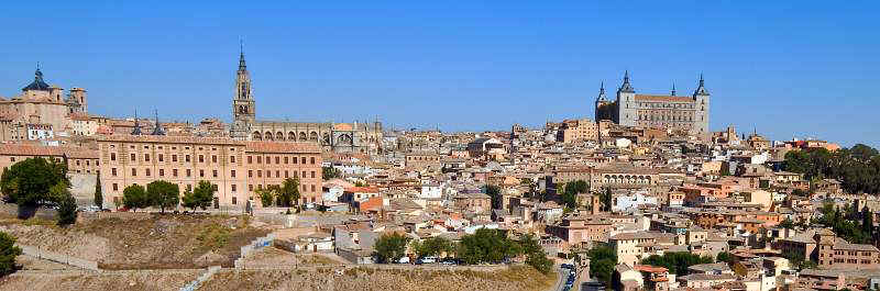 Toledo - view on the town from the river Rio Tajo.